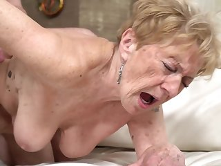 A nasty old granny is getting fucked in her pussy doggy haughtiness