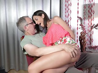 Teen babe Miky Love bent over together with pounded hard by an older guy