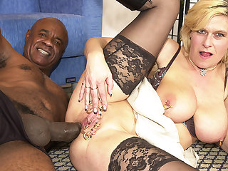 perforated milf pain in the neck fucked by a black monster cock