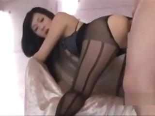 Asian girl fucked hard in stockings and disdainful heels
