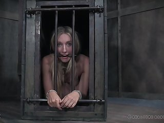 Hot wax throes for caged and dancing party gagged teen babe Kel Bowie