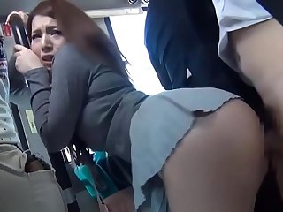 Cute babe gets their way muddied and tiny pussy fucked by a handsome dude in the bus