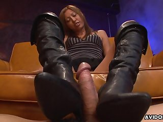 Boot fetish play with a sexy Japanese girl