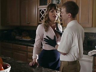Gorgeous mommy Dana DeArmond bangs her stepson and give shim a fine BJ