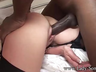 Brit COUGAR gets poked by Beamy BLACK COCK while Cuck witnesses