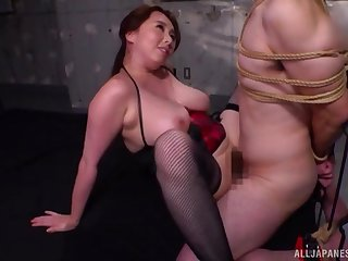 Busty Japanese milf bondage porn with obedient lover