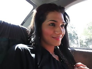 Picking up a horny transsexual slut Camila Ramirez everywhere the taxi