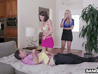 Young dude enjoys fucking super order about stepmom and sexy stepdaughter