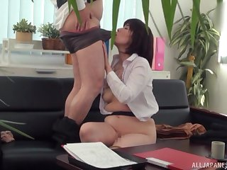 Japanese mature tries hard sex at hammer away office