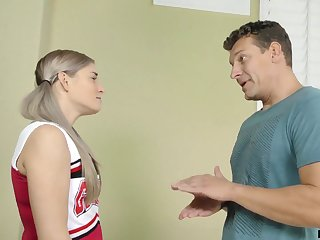 Pretty and wild cheerleader fucks will not hear of stepdad at his place
