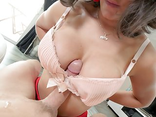 Shy bruntte Penny Barber with glasses pleasures him with a blowjob