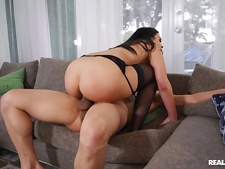 Brunette in sexy unmentionables mill cock in unbelievable modes