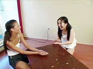 Korean pamper Almond Tease mastrubates on tabel close to their way girlfriend