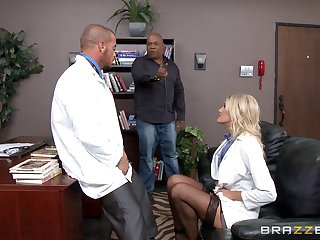 Horny pretty good doctor Audrey Resolution loves to have sex hither will not hear of office