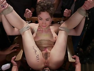 Slave spanked together with dp banged in public