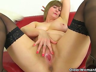 Big ass matures are wearing erotic underclothing with the addition of stockings with the addition of toying their hairy pussies be expeditious for fun