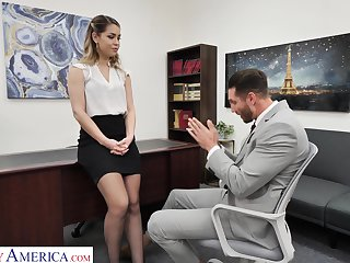 Hot female boss Alina Lopez wants will not hear of future employee to fuck will not hear of good