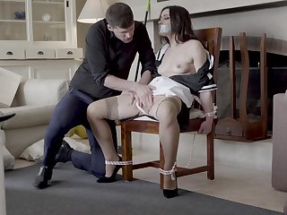 Intriguing home domination with transmitted to chick confined up and gagged