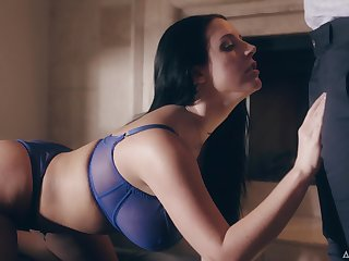 Juicy babe with G-cup pair Angela Ashen is making love with her advanced boyfriend