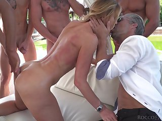 Blonde starlet fucked hard and camouflaged in cum during hardcore gangbang