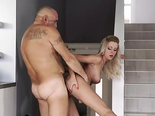 Hung daddy with the addition of old skinny granny Finally at home, finally