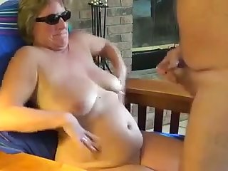 This shameless mature slut loves conclave me cum with her shades on