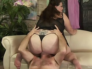 Chubby adult grabs the man's cock and works smashing with euphoria
