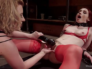 Daunting lesbian BDSM session for blistering Rubicund Torn and Violet Monroe