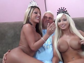 Blonde queens Rikki Six and Holly Tyler fucked by two lucky guys