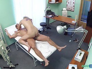 Sylvia V. ends up riding her doctor's cock nearby make an issue of treatment room