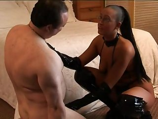 Submissive toff has to watch Jessy and her girlfriends fucking