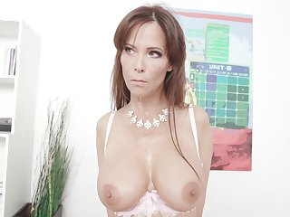 Syren De Mer is a busty milf who likes to ride a coal-black cock in every situation