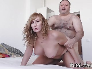 Hairy senior old man fucks horny slut Katerina