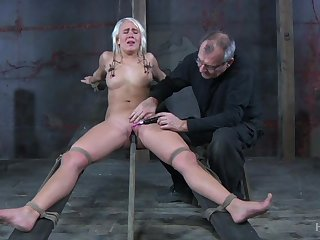 Obedient blonde pro with natural tits Sophie Ryan deserves bondage and masturbation