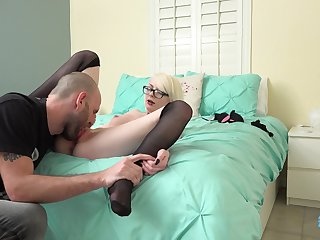 Blonde tolerant Alice Pink is commandeer to suck delicious cock in chum around with annoy horniest in like manner