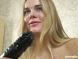Cute babe has big soft boobs together with loves to fuck ourselves with her huge dildo
