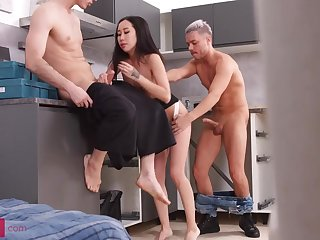 Diminutive breasted, Chinese brown-haired, Kiara Gilt is having a mmf three-way with neighbors, in the kitchen