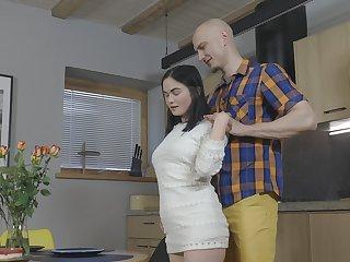 Amateur Russian neonate Mileva enjoys object fucked in the kitchen