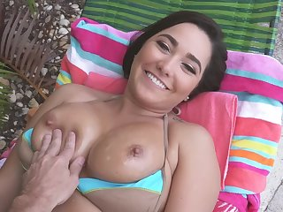 Sticky load on her big naturals after concerned sex by the pool